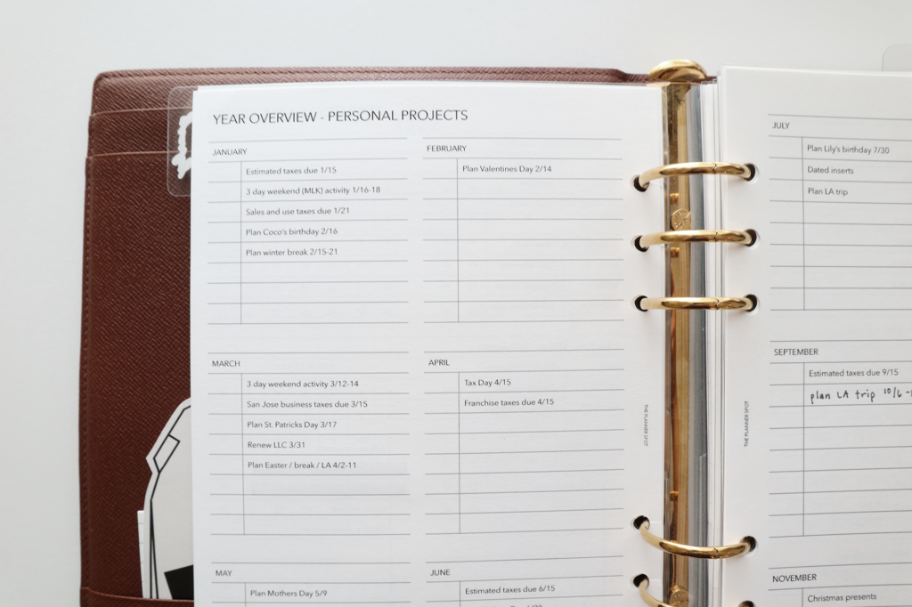 planner inserts A5